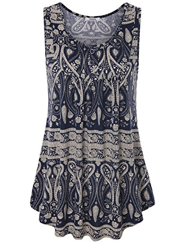 Freizeitkleidung für Damen ärmellos, Youtalia Sommer Top mit weitem Rundhals-Ausschnitt ärmellos Tunika-Top farbig Blau Größe XL (Freizeitkleidung Damen)