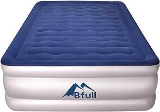 BFULL Luftbett, Luftbett Frisch Eingetroffen Aufblasbar Ohne Luftverlust Tragbare Luftmatratze mit eingebauter Elektropumpe, langlebig, leicht zu verstauen und zu installieren (Blau)