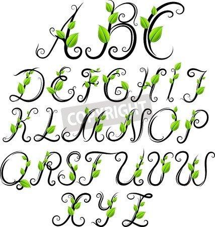 "Alu-Dibond-Bild 80 x 80 cm: "" hand drawn eco alphabet"", Bild auf Alu-Dibond"
