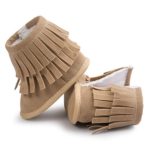 WOCACHI Baby Warmhalte Double-deck Quasten weiche Sohle Snow Boots Soft Krippe Schuhe Kleinkind Stiefel Krabbelschuhe (12cm, Rot) Khaki48
