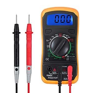 Proster Multimetro Digitale / Mini Multimetro Tester Misuratore Digitale Manual Range Test DMM DC Corrente DC AC Voltaggio Resistenza con LCD Retroilluminazione
