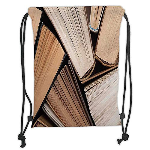 Trsdshorts Drawstring Backpacks Bags,Abstract Home Decor,Pile of Old Books Research Reading Library Education Literature Theme Picture,Brown Beige Soft Satin,5 Liter Capacity,Adjustable Strin -