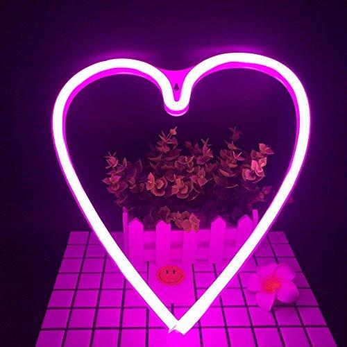 LED Neon Nachtlicht Batteriebetrieben, Wandleuchte Neon Dekoration Lampe Leuchte mit Batterie Box und USB für Wohnzimmer Schlafzimmer Hochzeit Geburtstaggeschenk (Herz)