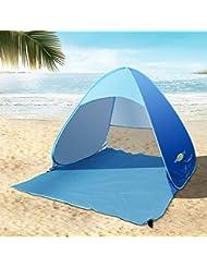 Sol Refugio tienda de campaña Pop Up tienda de campaña UV 50+ sol Protección ligera para al aire libre mar playa jardín para cama 1persona (mar azul)