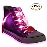 Nylon LED Light Up,Glow in the Dark,Glowing Shoelaces by Maxstrapz in 8 Different Colours,White,Blue,Pink,Red,Orange,Yellow,Green and Multi Colour,3 Flash Modes,for Parties,Running,Walking (pink)