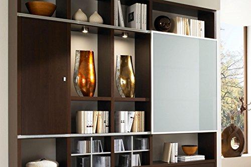 Wohnwand Toro 43 in Wenge Nachbildung mit Schiebetür 30% satiniertes Glas von fif Möbel - 2