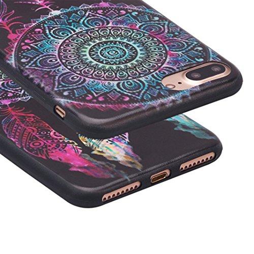 iPhone 7 Plus Cas, Asnlove Coque TPU Silicone Doux Housse Motif de Peinture Étui Transparent Ultra Mince Cover Protection de Téléphone Case pour Apple iPhone 7 Plus - Fleur Pourpre Peint Motif Couleur-5