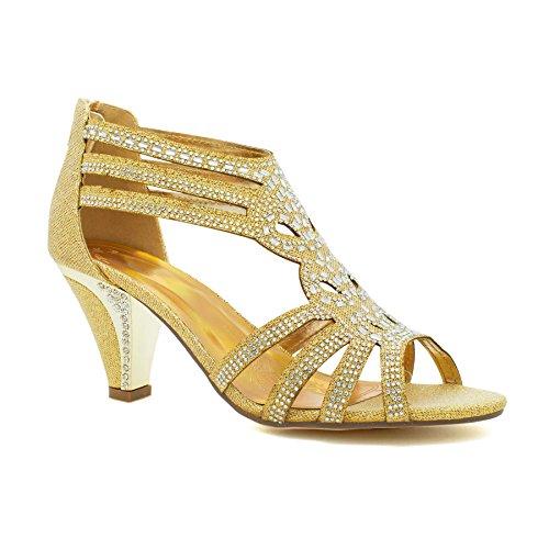 London Footwear , Damen Knöchel-Riemchen Gold