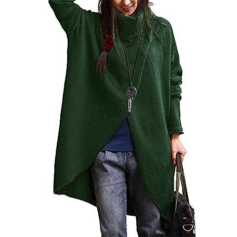 Damen Pullover, Frashing Damen Mode rundes Revers asymmetrische Saum lange Ärmel Sweatshirt Turtleneck Asymmetric Hem Long Sleeve Sweater S ~4XL (3XL, Grün)