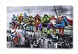 Marvel & DC Superheroes Déjeuner au Sommet d'un Gratte-Ciel avec Captain America, Iron Man, Batman, Wolverine, Deadpool, Hulk, Flash et Superman par Dan Avenell - Toile imprimée sur châssis (40x61cm)