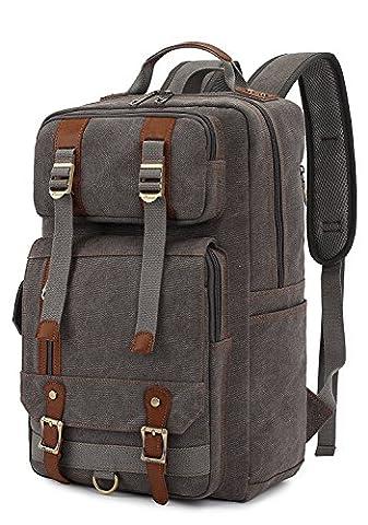 BinKe Multifonction Vintage Sac à dos Loisir Daypack Cartable Toile Vert pour Voyage/Escalade/Randonnée Portable Collège Retour Packs - Gris