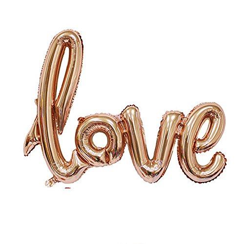 Nopea Love Schriftzug Luftballon in Rosegold Folienballon als Hochzeit Dekoration Party Geschenk Fotorequisite oder Liebes Überraschung