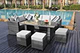 YAKOE Conservatory 9 Seater Outdoor Rattan Garden Furniture Classical Corner Dining Set with Rain Cover - Grey