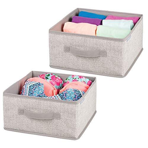mDesign 2er-Set Aufbewahrungsbox aus Stoff - für Ordnung im Kleiderschrank - Stoffkiste in Leinen-Optik für Kleidung, Accessoires und mehr - beige