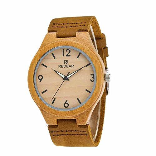 Womens 100% Bambus (Jaku Männer und Frauen Bambus Uhren, Braun 100% Lederband Analog Zeiger Quarzwerk Sport und Freizeit Uhren Einfache Mode,Woman)