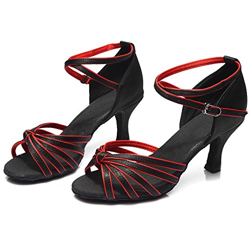 Hipposeus Zapatos De Salón Mujer / Zapatos De Baile / Zapatos Latin Satin Women 7cm Negro + Rojo