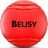 Hundeball von BELISY für besonders hohen Spiel-Spaß – Hunde-Spielzeug aus Natur-Gummi – Kau-Ball/Kauspielzeug/Gummiball – robuster Hundespielball für große & kleine Hunde – auch für Welpen geeignet - Farbe Rot - 6cm