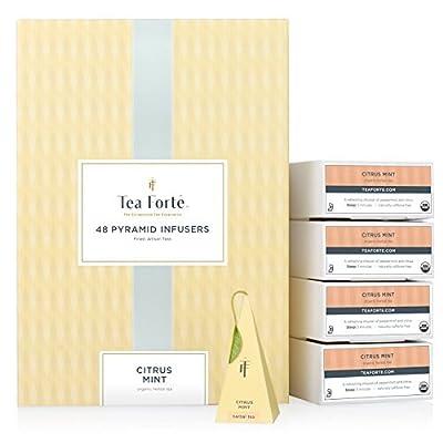 Tea Forté Citrus Mint - Infusion Bio Menthe Citron - Coffret 48 Pyramides Infuseurs assemblées à la main