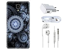 Spygen Xiaomi Mi4 Case Combo of Premium Quality Designer Printed 3D Lightweight Slim Matte Finish Hard Case Back Cover + Charger Adapter + High Speed Data Cable + Premium Quality Handfree