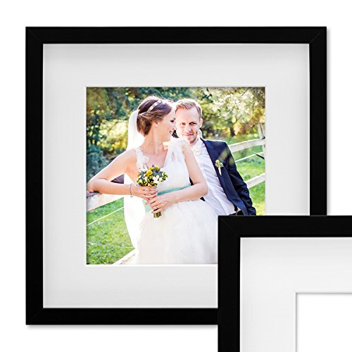 PHOTOLINI 3D Bilderrahmen Objektrahmen 30x30 cm 3D-Rahmen Schwarz Modern Tief MDF-Rahmen mit Passepartout u. Glasscheibe/Fotorahmen
