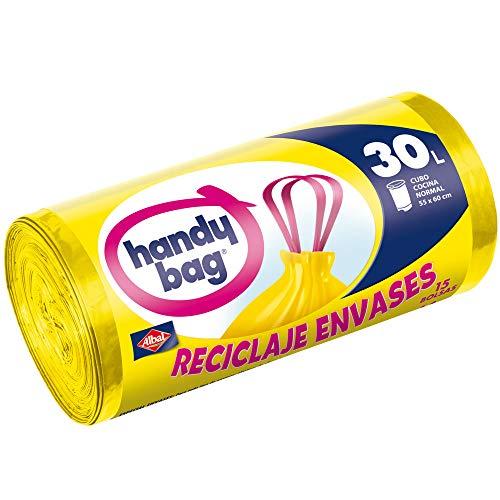 H-ANDYBAG Handy Bag-Sacs Poubelle, Jaune, 30L, Lot de 15