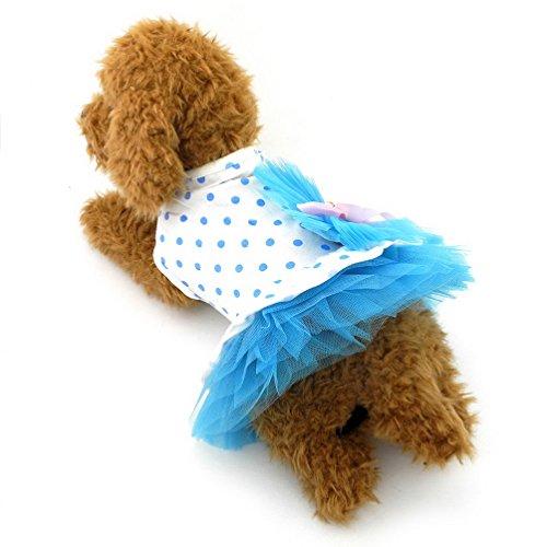 selmai Gaze Kleine Hund Tutu Kleid Polka Dots Baumwolle Prinzessin Puppy T-Shirt Rock Schleife Pet Hund Sommer Strand Reise Kleidung Outfits - Dot Kleid Pudel