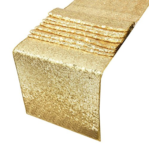 Tenrany Home 30 x 275 cm Gold Sequin Table Runner