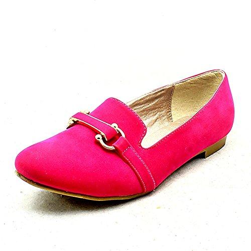 Mesdames suédine pompes pantoufle plat / chaussures rose vif