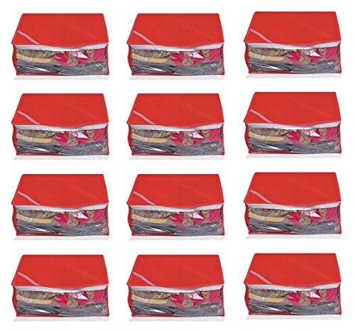 Yellow Weaves™Non Woven Saree Cover 12 Pcs Combo, Color - Red