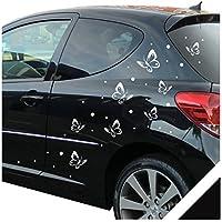 Adesivo per auto farfalle Dots Set–68pezzi con racla (FLY03) con, diversi colori nero