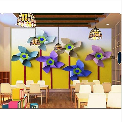Lovemq Mural De Papel Tapiz 3D / Papel Fotográfico Personalizado/Molinos De Viento De Papel Cortado Jardín De Infantes/Tv/Sofá/Ropa De Cama/Ktv/Hotel/Sala De Estar/Niños Sala De Niños-130X100Cm