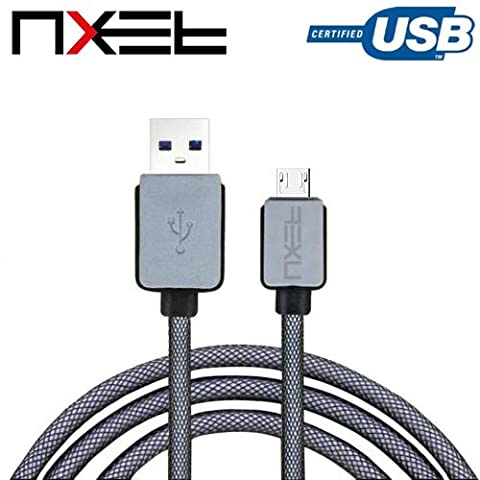 NXET® Micro-USB Charger Cable, Durable Braided Charging Lead for Sony Xperia Xl39h Z Z1 Z2 Z3 Z3+ Z4 Z5 Compact/Premium/Tablet M5 C4 M4 Aqua E3 M2 T2 Ultra E1 Playstation PS4 DUALSHOCK®4 WIRELESS CONTROLLER and More