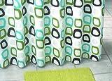 Duschvorhang Textil ~ Motiv: Retro / Quadrate ~ Farbe: weiß türkis grün und braun ~ Maße: 180 x 200 cm ~ 100 % Polyester ~ mit 12 Ösen ~ ohne Duschringe