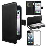 ebestStar - Compatibile Cover iPhone SE 5S 5 Custodia Portafoglio Pelle PU Protezione Libro Flip, Nero + Pellicola Vetro Temperato [Apparecchio: 123.8 x 58.6 x 7.6mm, 4.0'']