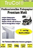 Beidseitig 50 Blatt DIN A4 135g /m² PREMIUM MATT Fotopapier matt - sofort trocken - wasserfest - hochweiß - sehr hohe Farbbrillianz fuer InkJet Drucker (Tintenstrahldrucker) Flyerpapier Broschüren Vorlagen