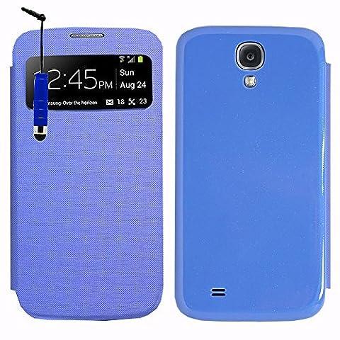 VCOMP® Etui Housse Coque flip cover View compatible pour Samsung Galaxy S4 i9500/ i9505/ Value Edition I9515 + mini stylet - BLEU