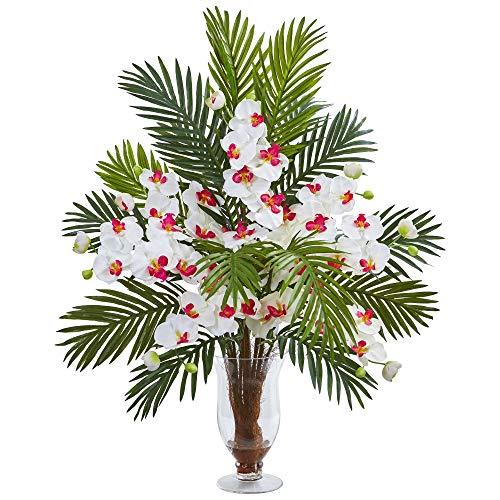 Nearly Natural 1732-WH Phalaenopsis Orchidee und Areca-Palme, Kunstseide, Weiß