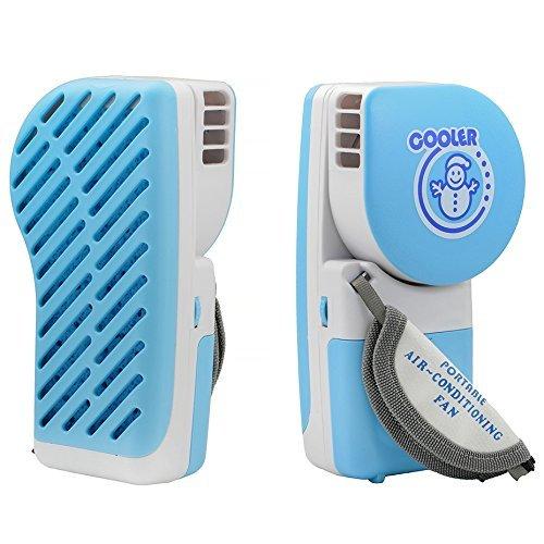 QUMOX Portable Mini Hand Held USB Wiederaufladbare Kleiner Lüfter Mini Klimaanlage Kühler blau (Ebene Elektrischer)