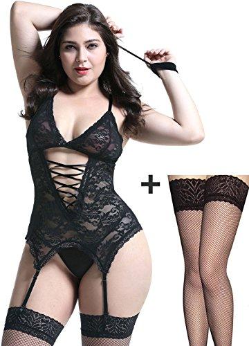 Damen Reizwäsche elastische Spitzen teddy Unterwäsche mit Strumpfhaltergürtel-Dessous in Übergröße