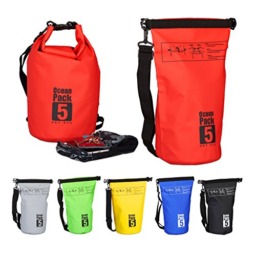 Relaxdays sac étanche ocean pack 5 litres sacca impermeabile, 38 cm, rosso (rouge)