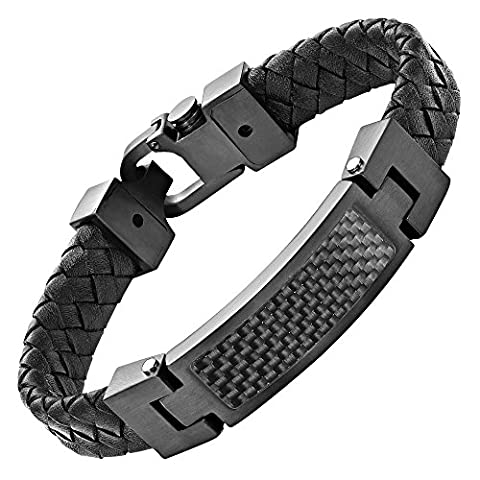 Willis Judd Mens Black Leather Bracelet with Stainless Steel and Black Carbon Fibre with Gift Box