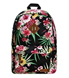 ZLYC Jasper Floral Flower Print Canvas Backpack Leisure Backpack Travel Fashion Schoolbag Sport Bag