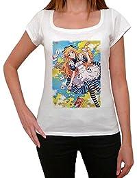 Manga Alice T-shirt Femme,Blanc, t shirt femme,cadeau