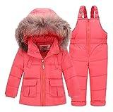 Hiver Enfants Enfants Bébé fille outwear réel fourrure Habits de Neige Veste + salopette Pantalon solide couleur fluff ski costumes (4T, Pêche Rouge)