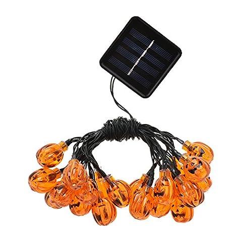 ONEU Solarbetrieben Halloween Wasserdicht Lichterkette LED Schnurlicht 20 LEDs Kürbis Licht für Außen Weihnachten Halloween (Corda Solare)