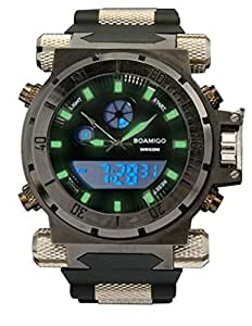 BOAMIGO Men's Sport Watch Dual Time LED Analog with Black Silicone Band F101-3