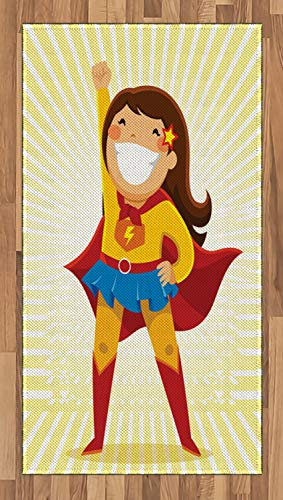 (ABAKUHAUS Superheld Teppich, Heldin Girl Kostüm, Deko-Teppich Digitaldruck, Färben mit langfristigen Halt, 80 x 150 cm, Mehrfarbig)