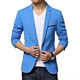 Vijay Collection Mens Slim Fit Casual Blazer Firozi Blue (38)