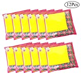 #5: Saree cover set of 12 pc Transparent Pink Plain Non Woven fabric with Zip combo | Dustproof Durable water resistant single sari packing Bag |Easy Storage of sarees in Cupboard wardrobe |Travel organiser |Marriage wedding Gifting giveaway purpose sareecover by INDOZY SC-PTC-12pc