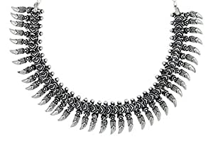 The Jewelbox Tribal Bohemian Oxidized German Silver Plated Choker Necklace for Women